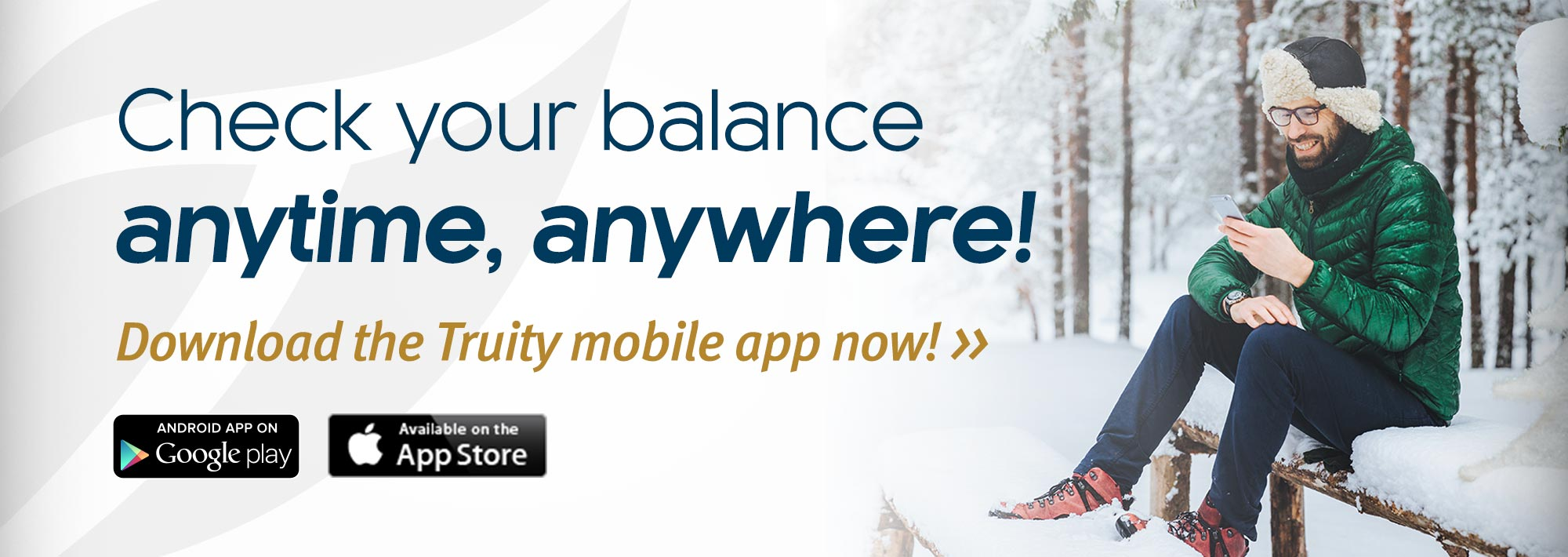 Check your balances, anytime, anywhere! Download the Truity mobile app now!