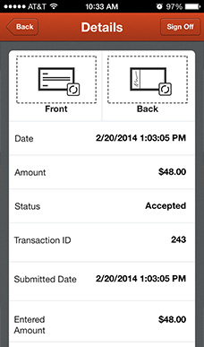 Mobile Deposit: Recent Deposits Details